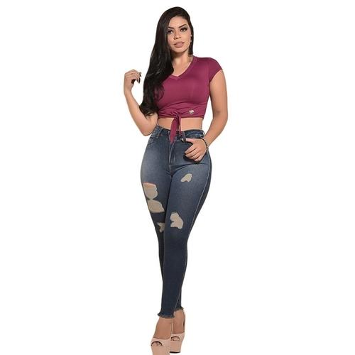 Calça Feminina Jeans moda rasgada cós alto com lycra